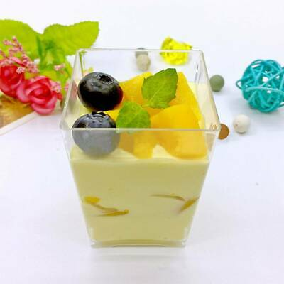 Details about  50Pcs Square Plastic Dessert Cups Mini Cubes 4oz/120m UK Seller