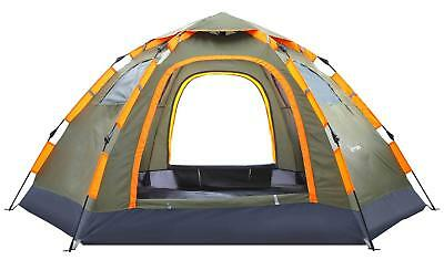 Pop up Camping Tent Portable 3-5 Person Family Tent Waterproof Double Doors V...