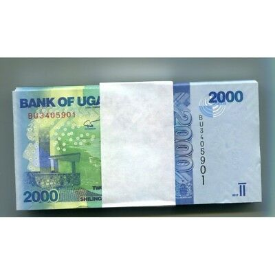 Uganda 2000 Shillings 2017 P-50D Unc Half Bundle 50 Pcs