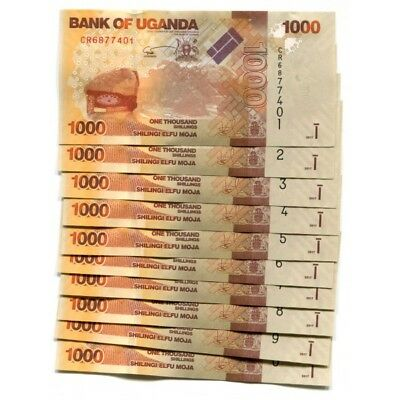 UGANDA 1000 SHILLINGS 2017 P-49e UNC LOT 10 PCS