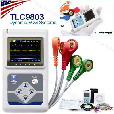 3 channel dynamic ECG holter, ECG Machine ,EKG Electrocardiograph,software USB