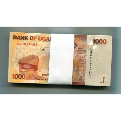 UGANDA 1000 SHILLINGS 2017 P-49e UNC HALF BUNDLE 50 PCS