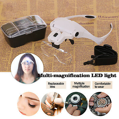 Headset Magnifier Magnifying Glass LED Eyelash Extension Jewelry Watch Repair