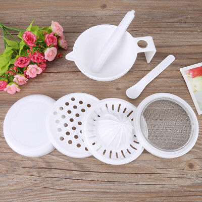 7pcs/set Baby Infant Food Vegetable Fruit Grinder Masher Grinding Bowl Tool Kit