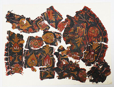 4-8C Ancient Coptic Textile Fragment - Flower Pattern, Christian Arts