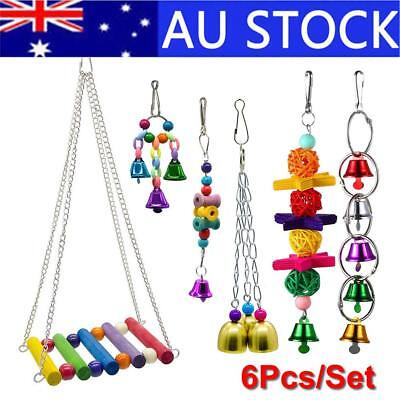 6Pcs Hanging Bell Pets Cage Hammock Swing Parrot Macaw Finch Bird Parrot Toy Set