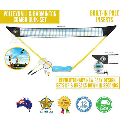 Portable Beach Volleyball & Badminton Net Set Carry Bag Outdoor Game Franklin
