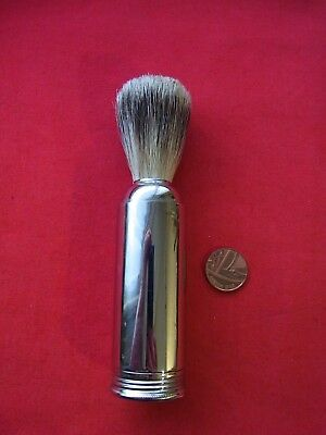 A MEN SHAVING TRAVEL BRUSH in STAINLESS STEEL CASE