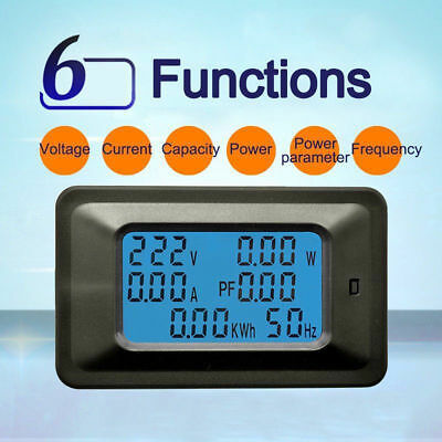 100A AC LCD Digital Panel Power Watt Meter Monitor Voltage KWh Voltmeter Ammeter