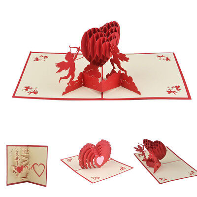 New 3D Pop Up Cards Valentine Lover Happy Birthday Anniversary Greeting Cards