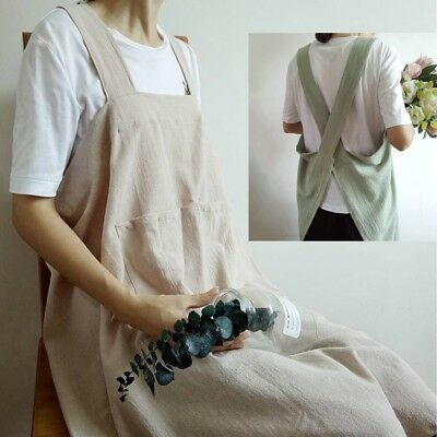 Japanese Apron Soft Cross Back Pure Linen Long Aprons For Women