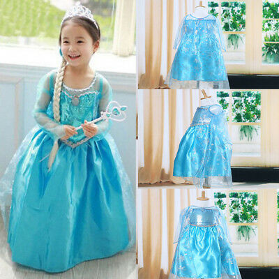 Kids Girl Snow Elsa Frozen Dress Costume Princess Tutu Party Dresses Cosplay Set
