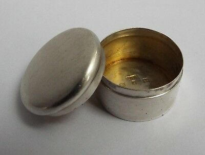 Nice English Antique Victorian 1899 Solid Sterling Silver & Gilt Rouge Pill Box