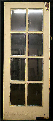 """2 avail 32""""x79"""" Antique Vintage French Wooden Swinging Door 8 Beveled Glass Lite"""
