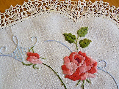 VARIEGATED PINK ROSES Large Doily Table Centre Vintage Hand Embroidered