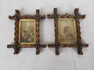 Two Antique Framed Sepia Portrait Card Photographs 2½ x 3½""