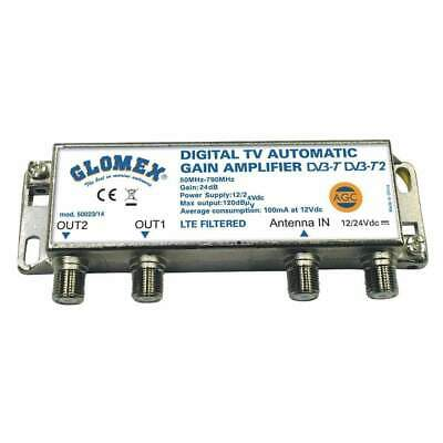 Glomex Auto Gain Control Amp 12/24v for 2 TV Outputs #50023/14