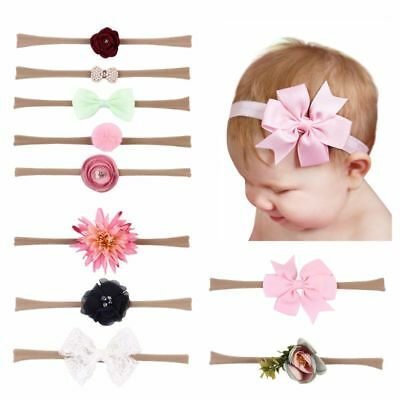 10Pcs Baby Headband Baby Hairband Elastic Foral Girls Lace Bow Photography Props