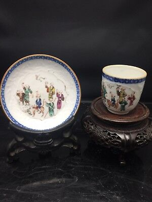 Antique Chinese Porcelain Export Cup And Sauce 18th Century