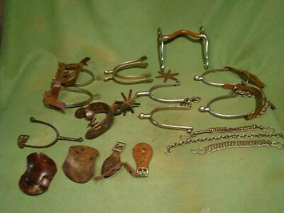 large lot of western military english riding spurs mexican / chains bit and more