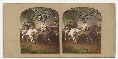 Stereo Stereoview Tinted Genre Children London ca. 1860