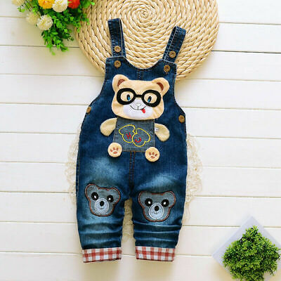 Children Boys Jeans Overalls Kids Baby Girl Casual Denim Pants Rompers Dungarees
