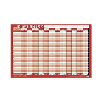 2019 Staff Holiday Wall Planner With Pen and Coloured dots Unmounted