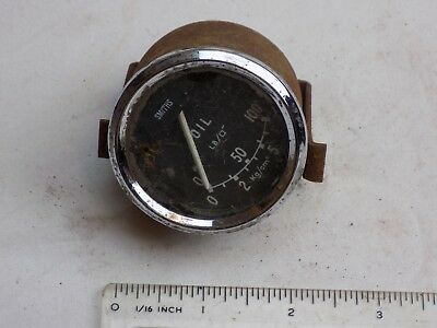 MG Austin Mini Smiths oil pressure gauge original with clamp in good condition