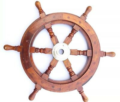 """18"""" Nautical Ship Wheel With BRASS RING WOODEN DECORATIVE"""