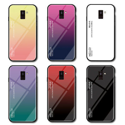 For Samsung Galaxy J4 J6 2018 J7 J5 Gradient Tempered Glass Hard Back Case Cover