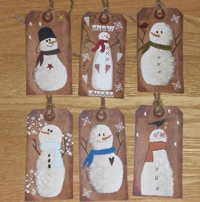 6 Primitive Christmas Holiday Snowman Hang Tags Gift Ties Ornies Dollies