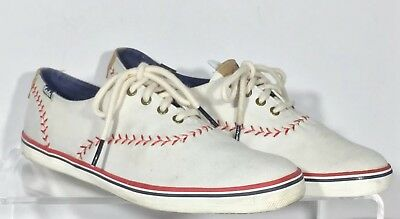 855382bd475 Keds Champion Pennant Baseball Stitch Sneakers Women s Sz 8.5 White Canvas