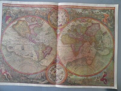 VINTAGE PRINT MAP OF THE WORLD from ITINERARIO 1596