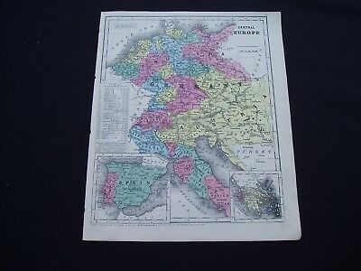 1853 Burgess Map Europe Italy Prussia Balkans Spain Germany Genuine Antique