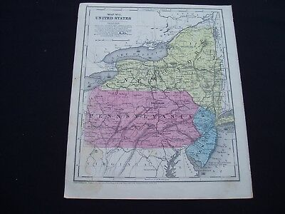 1853 Burgess Map New York Pennsylvania New Jersey Genuine Antique