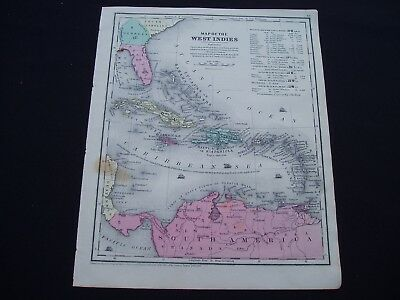1853 Burgess Map West Indies Caribbean Gulf of Mexico Genuine Antique