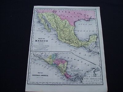 1853 Burgess Map Central America and Mexico Genuine Antique