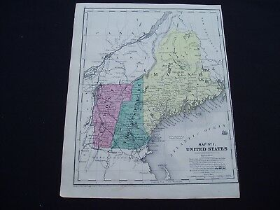 1853 Burgess Map New England Maine Vermont New Hampshire Genuine Antique