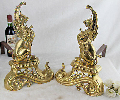 PAIR XL french brass Gothic Dragon Castle Chimaera Fireplace andirons rare