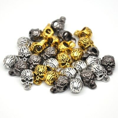 """0.5"""" Metal Skull Head Bracelet Necklace Connector Charm Beads Silver Gold Bronze"""
