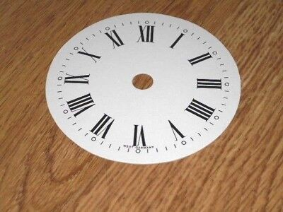 "Round Paper Clock Dial- 3 1/4"" M/T-Roman-with 'West Germany'-White -Parts/Spares"