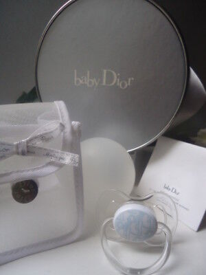 The Ultimate DIOR Gift Blue Baby Boy Dummy Soother New & Stunning 14cm Drum Box