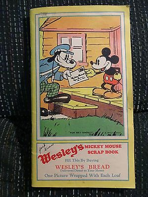 RARE 1930's WESLEY'S BREAD MICKEY MOUSE SCRAPBOOK ALBUM WITH COMPLETE 24 Cd SET