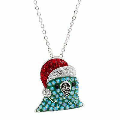 Crystaluxe Santa Party Parrot Pendant with Swarovski Crystals in Sterling Silver