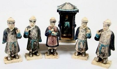 Ming Dynasty (8) Piece Processional Figures & Palanquin Tomb Figure w/Cert