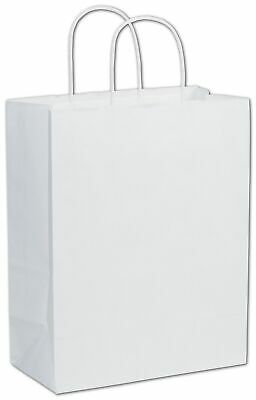 250 White on Kraft Paper Bags Shoppers Lindsey Handles 10 x 5 x 13""
