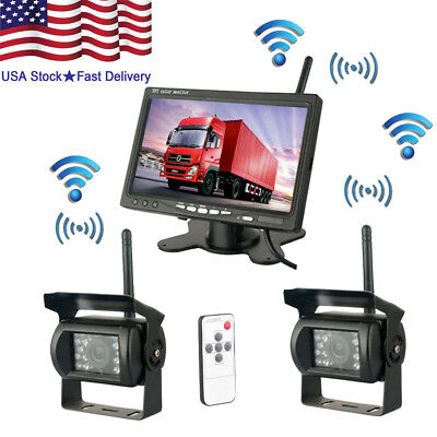 "2 X Wireless Rear View Backup Camera Night Vision + 7"" Monitor Kit RV Truck Bus"