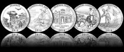 2017 5 S National Park Quarter San Francisco Set ATB ~ 5 UNC 2nds Coins!