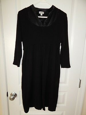 A PEA IN THE POD Maternity Black Sweater Wool Silk Blend Satin Neckline LARGE