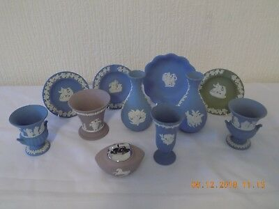 Collection Of 11 Pieces Of Wedgwood Jasper Ware Various Colours Inc Lilac Vase